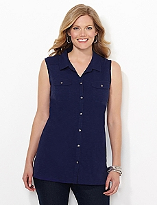 Sleeveless Collared Buttonfront