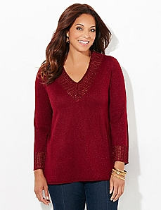 Sequin Deep-V Pullover