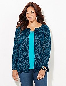 Dot-Scroll Button Cardigan