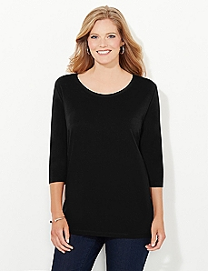 Suprema 3/4-Sleeve Mesh-Trim Tee