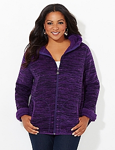 Purple Space-Dye Favorite Fleece Coat