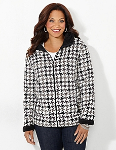 Houndstooth Fleece Coat