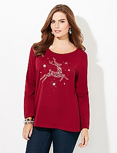 Long-Sleeve Deer Holiday Tee