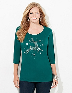 3/4-Sleeve Deer Holiday Tee