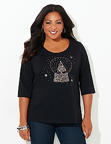 Scoopneck 3/4-Sleeve Globe Holiday Tee