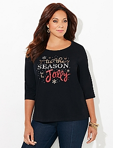 3/4-Sleeve Jolly Holiday Tee