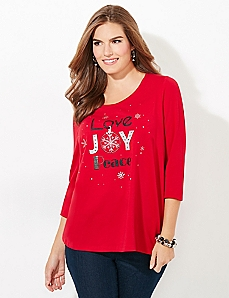 3/4-Sleeve Love Holiday Tee