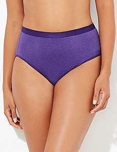 Purple Heathered Cotton Hi-Cut Brief