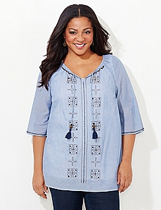 Chambray Peasant Shirt