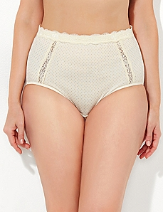 Metallic Dot Lace Trim Cotton Full Brief