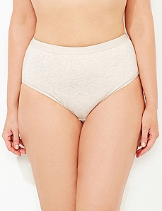 Heathered Oatmeal Cotton Hi-Cut Brief
