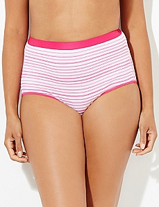 Pink Dual Stripe Cotton Full Brief