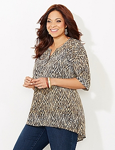 Crosshatch Split Top