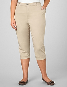 Roll Cuff Twill Capri by CATHERINES