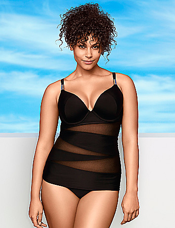 Illusion swim tank with built in plunge bra