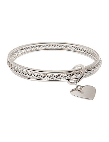 3 row bangle bracelet set with heart charm