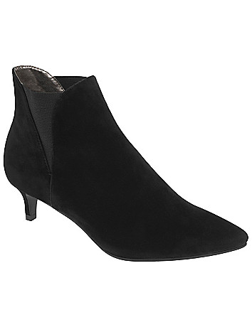 Faux suede kitten heel bootie by Lane Bryant