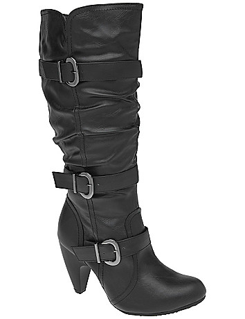 3 strap heeled slouch boot by Lane Bryant