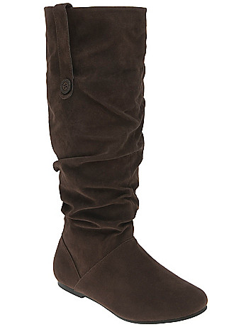 Faux suede slouch boot by Lane Bryant