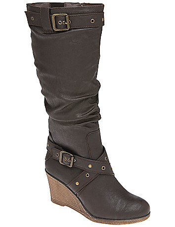 Belt accent wedge boot by Lane Bryant