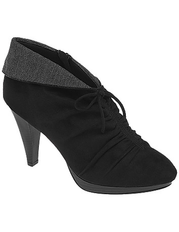 Wide width Faux suede ruched shootie by Lane Bryant