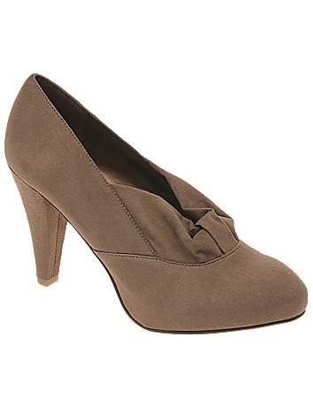 Faux suede loop accent heel by Lane Bryant