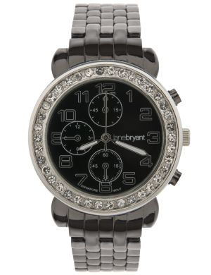 Rhinestone and gunmetal fashion watch by Lane Bryant