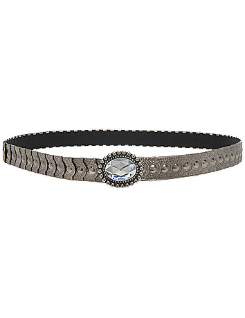 Silvertone shingle stretch belt by Lane Bryant