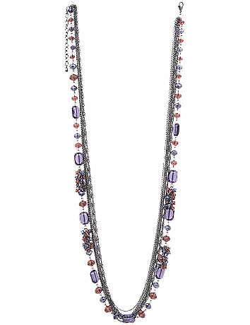 Chain and bead multi row necklace by Lane Bryant