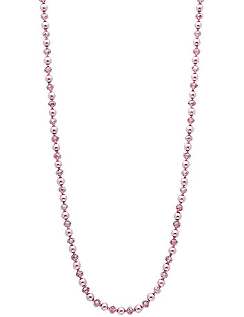 "Faux pearl and bead 60"" necklace by Lane Bryant"