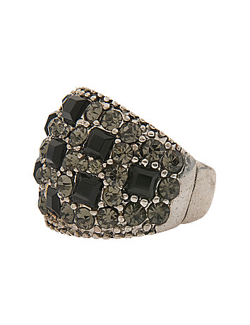 Crystal checkerboard stretch ring by Lane Bryant
