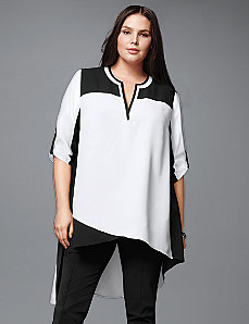 Asymmetric colorblock tunic