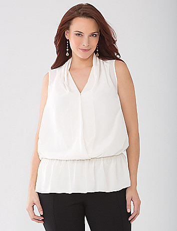 Plus Size Woven Surplice Shell by Lane Bryant