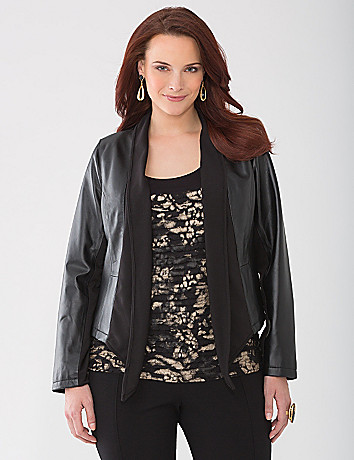 Drape front leather jacket by Lane Bryant