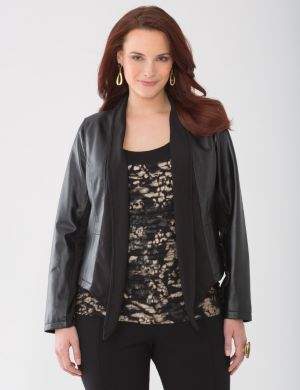 Lane Collection drape front leather jacket