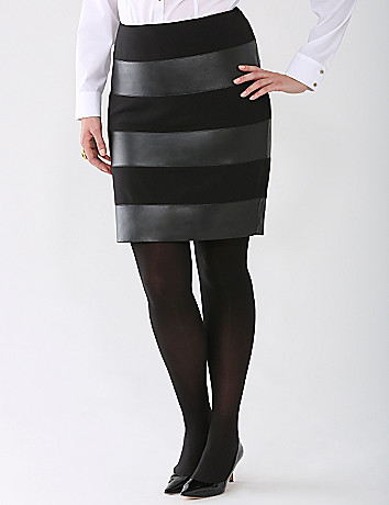 Leather and Ponte Pencil Skirt by Lane Bryant