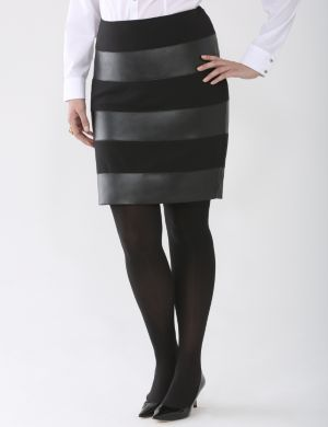 Lane Collection leather stripe skirt