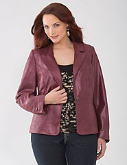 Shimmering leather blazer by Lane Bryant