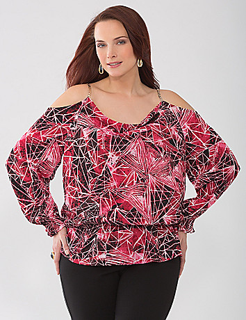 Full Figure Lane Collection cold shoulder blouse