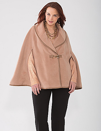 Leather trim cape by Lane Bryant