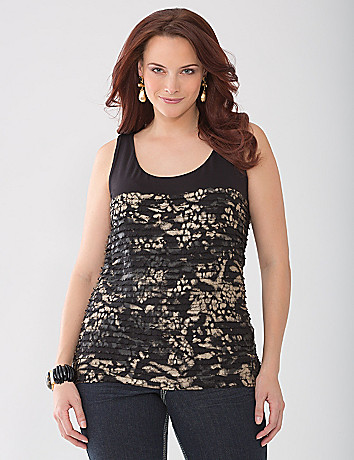 Foiled ruffle tank by Lane Bryant