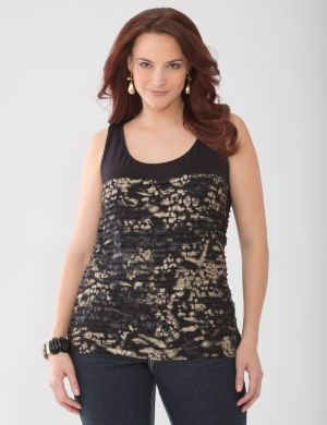 Lane Collection foiled ruffle tank