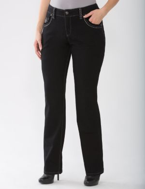 Lane Collection Evie embellished straight leg jean
