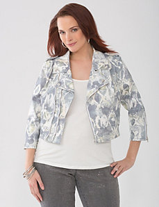 Plus Size Lane Collection Snake Denim Jacket