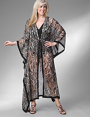This dramatic caftan to wear poolside is available only at LaneBryant.com. Click on the photo to purchase.