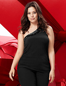 One shoulder sequin top by LANE BRYANT