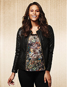 Quilted faux leather jacket by Lane Bryant
