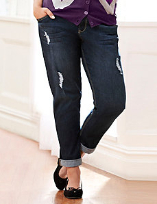 Distressed dark wash weekend roll cuff jean