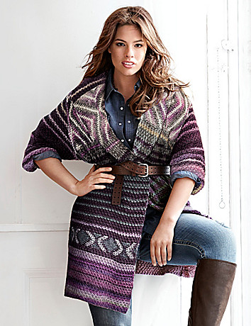 Patterned sweater coat