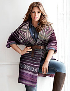 Patterned sweater coat by LANE BRYANT
